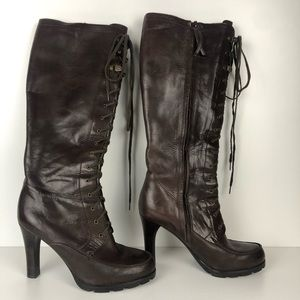 Lauren Ralph Lauren Knee High lace Up heeled Boots